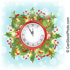 Clock with Christmas Holiday Decoration