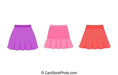 illustration., clothes., ベクトル, 女の子, スカート, baby.