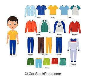 illustration., clothes., 赤ん坊, ベクトル, design., 衣類, 男の子, セット, 平ら