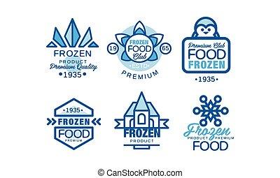 illustration, club, insignes, nourriture, étiquettes, vecteur, prime, surgelé, bleu, collection, produit