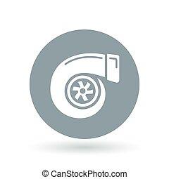 illustration., coche, turbo, vector, vehículo, signo., icon., símbolo., turbocharger, rendimiento, compresor