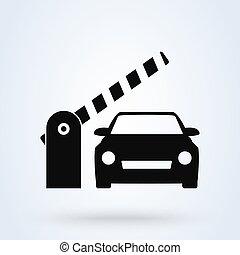 illustration., coche, vector, barrera, diseño, gate., simple, icono, seguridad, moderno