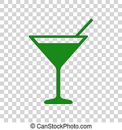 illustration., cocktail, segno, scuro, fondo., verde, trasparente, icona