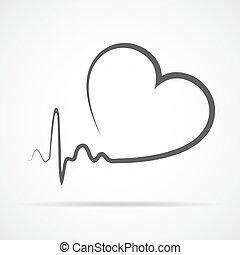 illustration., coeur, vecteur, icon.
