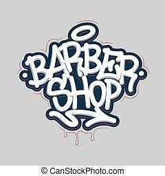 illustration., coiffeur, vecteur, shop., graffiti, style, ...
