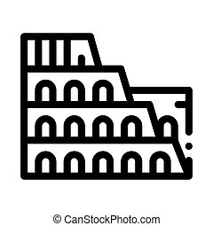illustration, colisée, bâtiment, icône, contour, vecteur