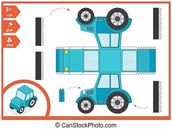 illustration., colle, art, coupure, 3d, vecteur, enfants, page., tractor., jeu, voiture., papier, activité