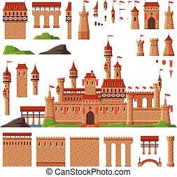 illustration, collection, forteresse, moyen-âge, vecteur, bâtiment, éléments, pierre, château, ancien