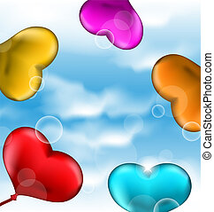 Illustration collection glossy hearts balloons for Valentine Day in the blue sky- vector