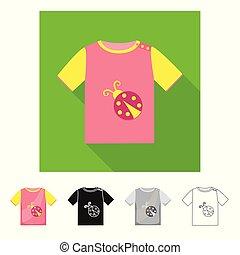illustration., collezione, tshirt, vettore, disegno, casato, logo., bambini, camicia