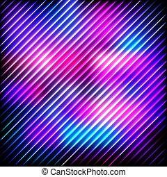 illustration., coloré, néon, résumé, lignes, fond foncé, vecteur