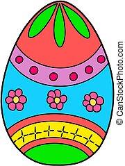 illustration., coloré, paques, vecteur, icon., oeuf, dessin animé