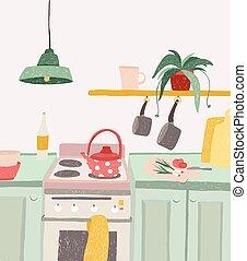 illustration., coloré, poêle, maison, griffonnage, cuisine,...