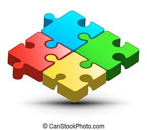 illustration., coloré, puzzle, puzzle, object., vecteur, logo, design., résumé, 3d