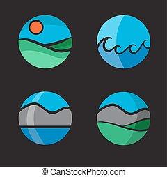 illustration., coloré, symbole, air, vecteur, eau, soleil, la terre, paysage