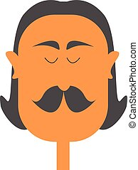 illustration., color, inclinar, vector, bigote, grueso, o,...