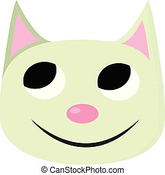 illustration., colorare, gatto, vettore, verde, o