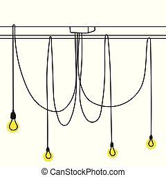 illustration., colorare, lampada, vettore, casa, d?cor, o