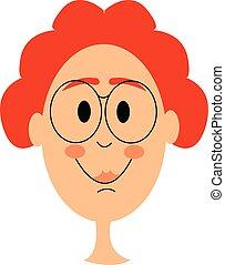 illustration., colorare, ragazzo, capelli, vettore, o, rosso