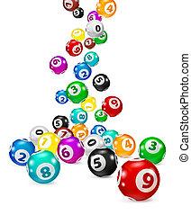 Illustration Colorful Bingo balls fall randomly. Lottery...