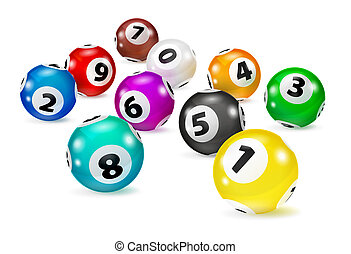 Illustration Colorful Bingo balls lie in random order. ...