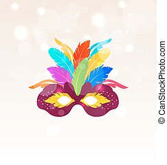 Colorful Carnival Mask with Feathers on Glowing Background