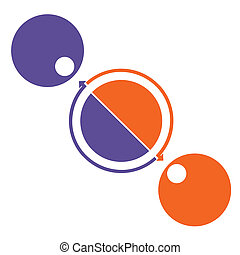 Illustration colorful circle diagram 2 positions for cyclic processes, step by step