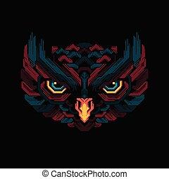 Illustration colorful owl head pop art design