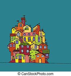 illustration., coloridos, doodle, houses., mão, vetorial, desenhado