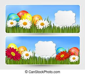 illustration., coloridos, ovos, flowers., vetorial, bandeiras, páscoa