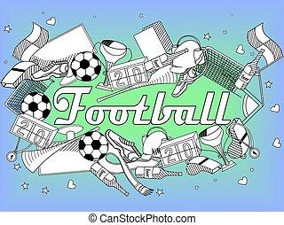 illustration, coloring, vektor, bog, fodbold