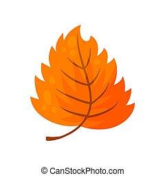 illustration., colorito, leaf., albero, autunno, vettore