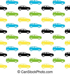 illustration., colorito, modello, seamless, silhouette., vettore, automobile