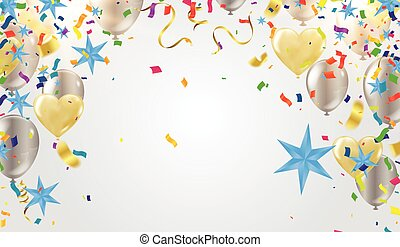 Illustration colourful party balloons, confetti with space for text