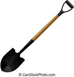 Illustration comfortable modern shovels. Isolated on white...