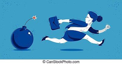 illustration, comique, rush., dessin animé, symbolise, femme affaires, rigolote, affaires femme, employé, vecteur, bombe, problèmes, ouvrier, ou, impôts, dette, tel, crise, mignon, course