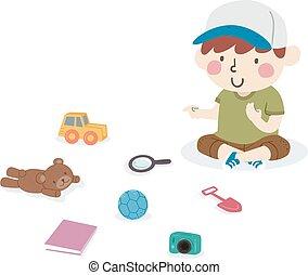illustration, compte, jouets, garçon, gosse