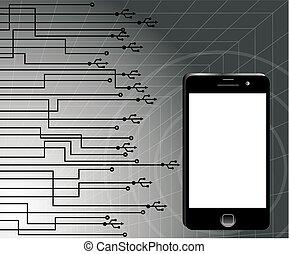 illustration., comunicação, modernos, ilustração, vetorial, telefone., tecnologia