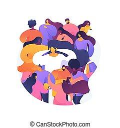 illustration., conceito, overpopulation, abstratos, vetorial