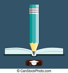 illustration., concept., ノート, ベクトル, 教育, pencil.