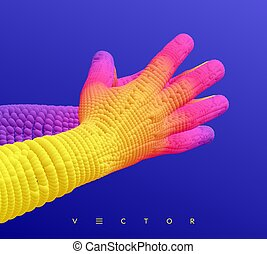 illustration., concept., ビジネス, ベクトル, 2, hands., 3d, 人間, 接続, structure.
