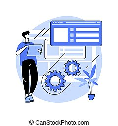 illustration., concept, abstract, onderhoud, vector, website