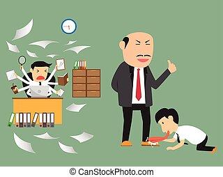 illustration., concept., affari, vettore, impiegato, practice., cattivo, buono