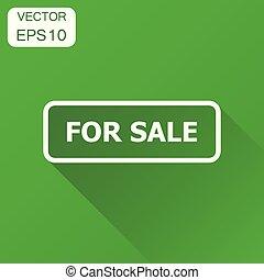 illustration, concept, business, timbre, vente, pictogram., vecteur, vert, long, fond, cachet, icon., shadow.