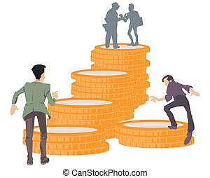 Illustration concept for website and mobile website development. Thirst profit. Desire for money. Ladder made of coins. Funny people. Stock illustration.