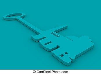 illustration concept, hand holding a key of job