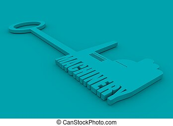 illustration concept, hand holding a key of machinery