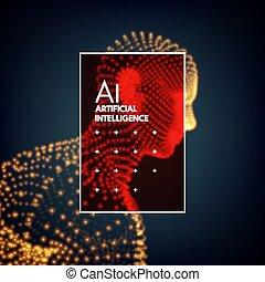 illustration., concept., intelligence., artificial, engenharia, vetorial, modelo, tecnologia, man., 3d