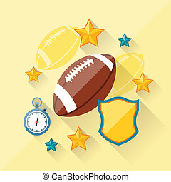 Illustration concept of american football in flat design style.