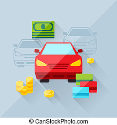 Illustration concept of auto loan in flat design style.